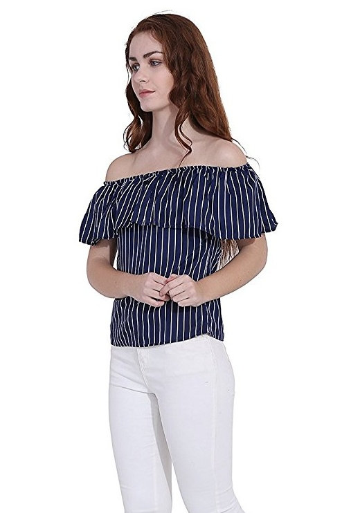 Women's Casual Striped Blue Top