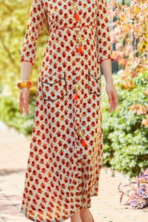 Women's Rayon Printed Off Shoulder Long Kurti