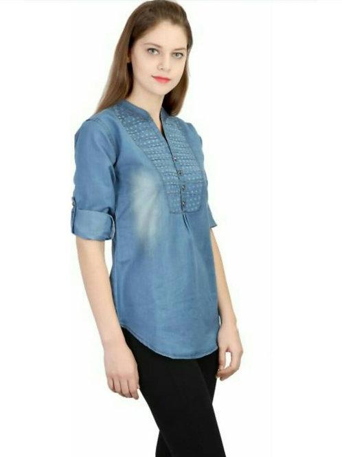 Women's Denim Solid Casual Blue Shirt