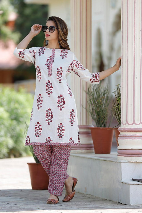 Women's Cotton Printed Designer Kurti Pant Set