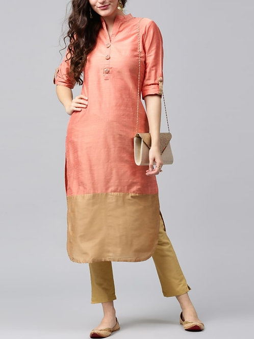 Women's Chanderi Silk Solid Kurti