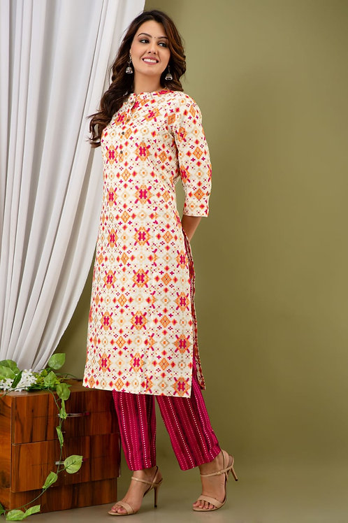 Women's Cotton Flex Printed Designer Kurti Pant Set