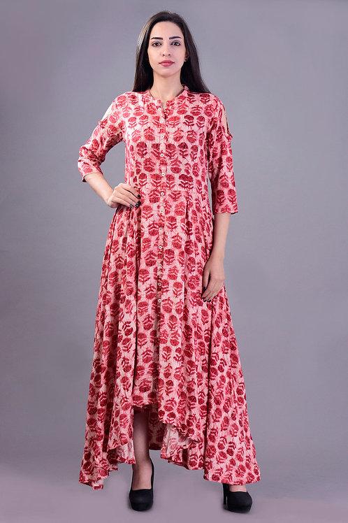 Women's Rayon Printed Cold Shoulder Kurti