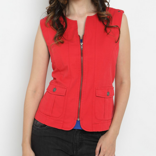 Women's Denim Red Jacket