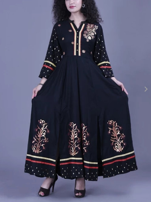 Women's Rayon Printed Anarkali Long Kurti