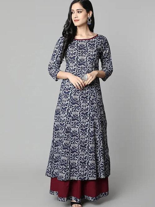 Women's Rayon Printed Designer Kurti Flair Skirt Set