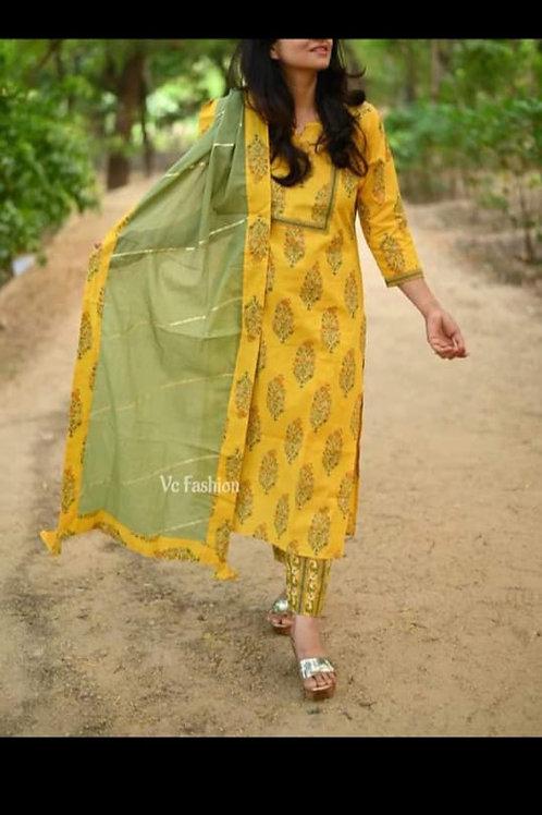 Women's Rayon Slub Printed Designer Kurti Pant Dupatta Set