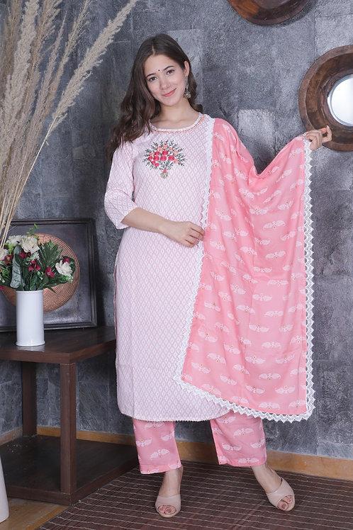 Women's Rayon Embroidered Designer Kurti Pant Dupatta Set