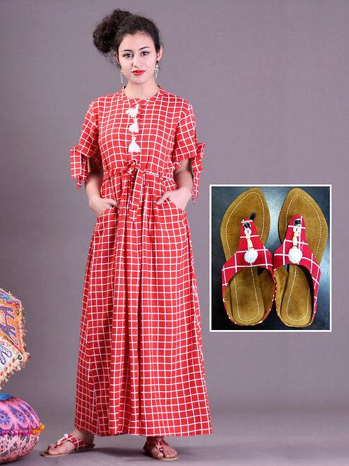 Women's Cotton Printed Kurti With Matching Floaters
