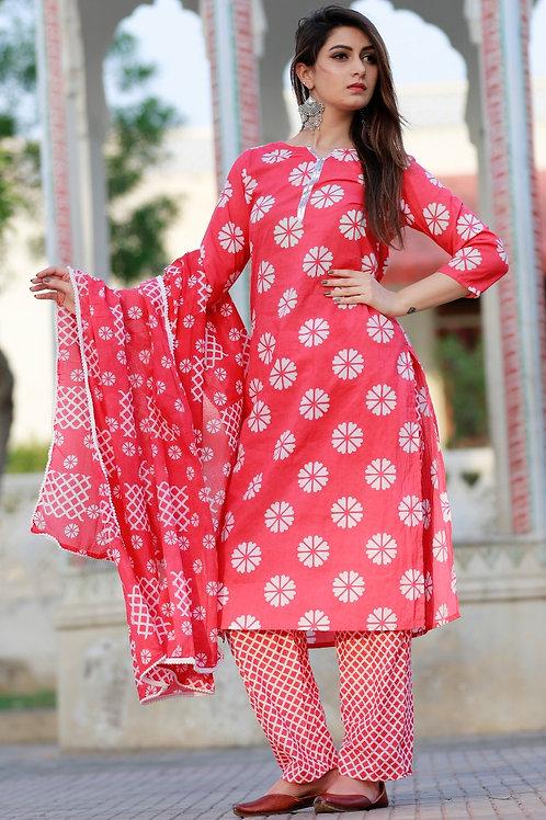 Women's Cotton Printed Designer Kurti Pant Dupatta Set