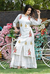 Women's Rayon Embroidered Designer Kurti Sharara Set