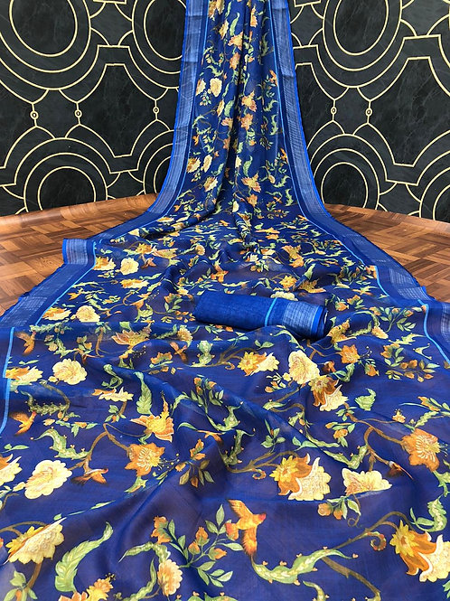 Women's Linen Digital Printed Saree With Unstitched Blouse