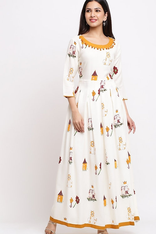 Women's Rayon Printed Long Kurti