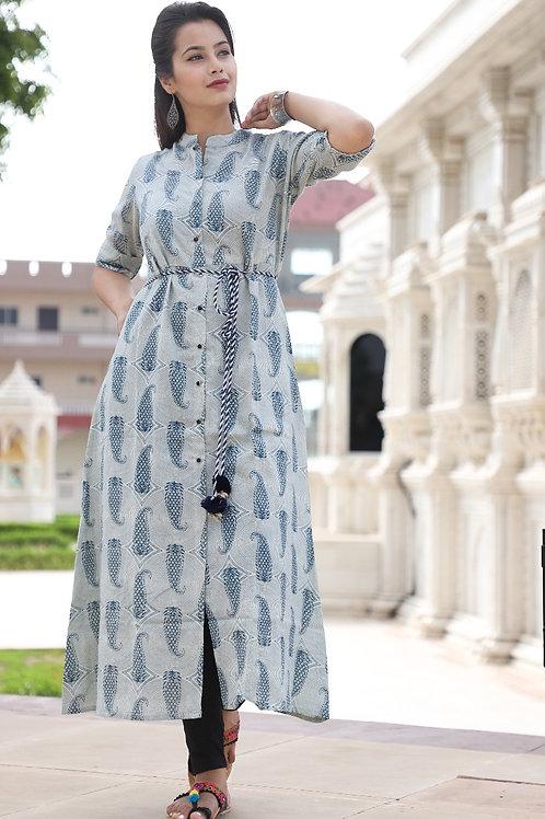 Women's Cotton Printed Front Slit Kurti