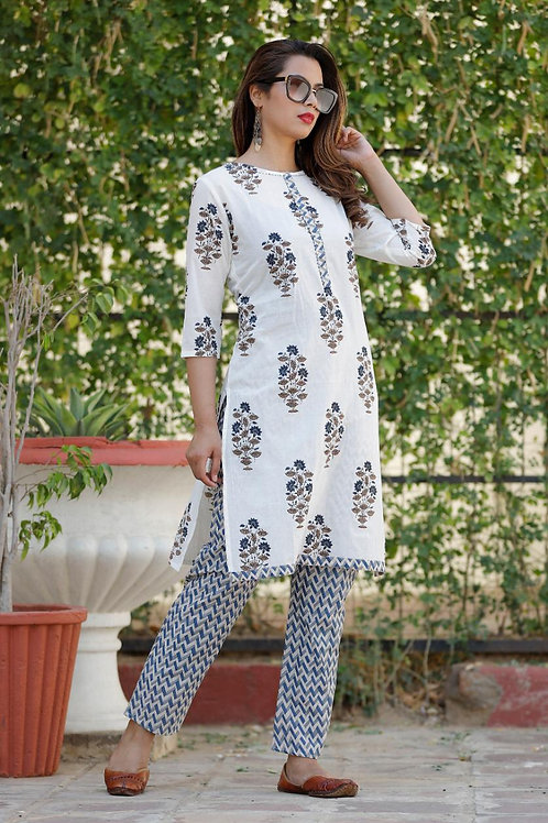Women's Cotton Printed Designer Kurti Pant Set