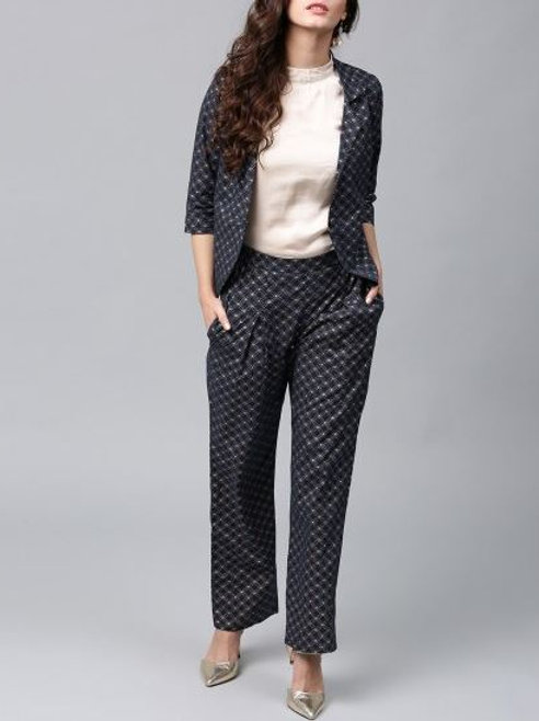 Women's Cotton Printed Jacket Pant Set