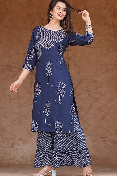 Women's Rayon Printed Designer Kurti Palazzo Set