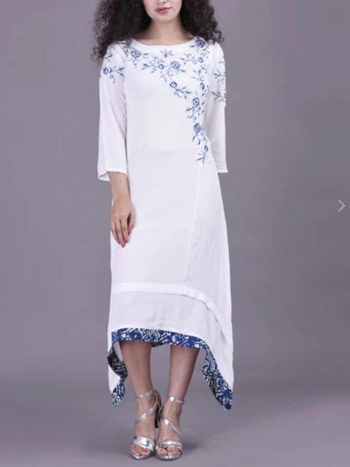 Women's Rayon Embroidered White Kurti