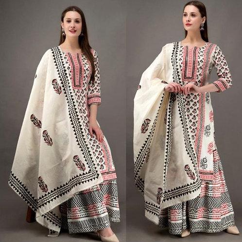 Women's Cotton Printed Designer Kurti Sharara Dupatta Set