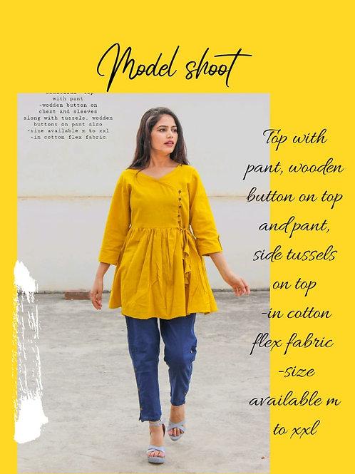 Women's Cotton Flex Designer Top Pant Set