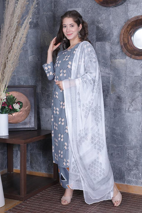 Women's Cotton Printed Designer Kurti Pant Dupatta Set
