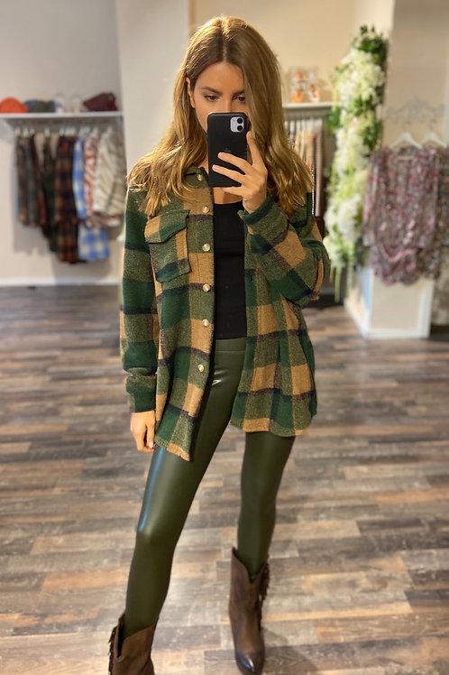 Hemd-Jacket Noura Beige/Green