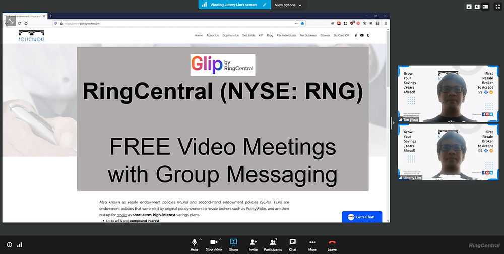 Glip video meetings with group messaging