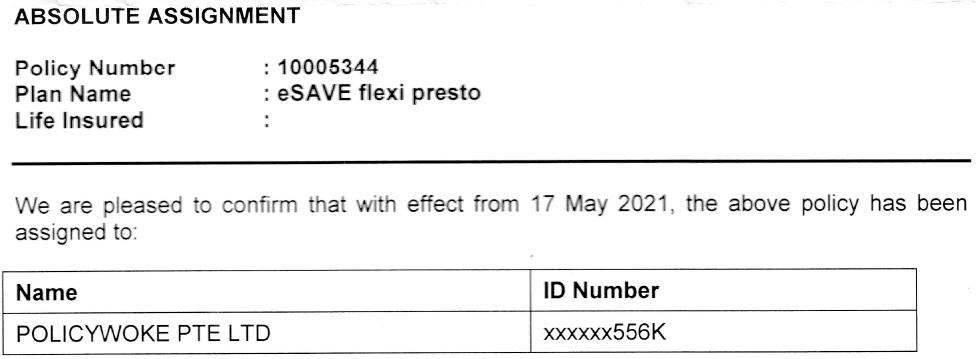 Absolute Assignment Confirmation Letter from Etiqa