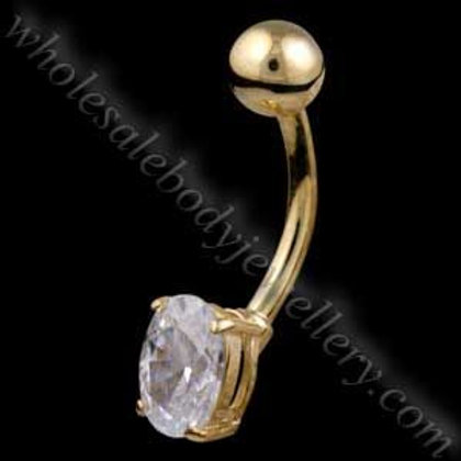 9ct Small Oval Belly Bar (9N07)