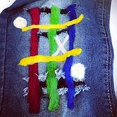 Aplique em lã feltrada para vestuário