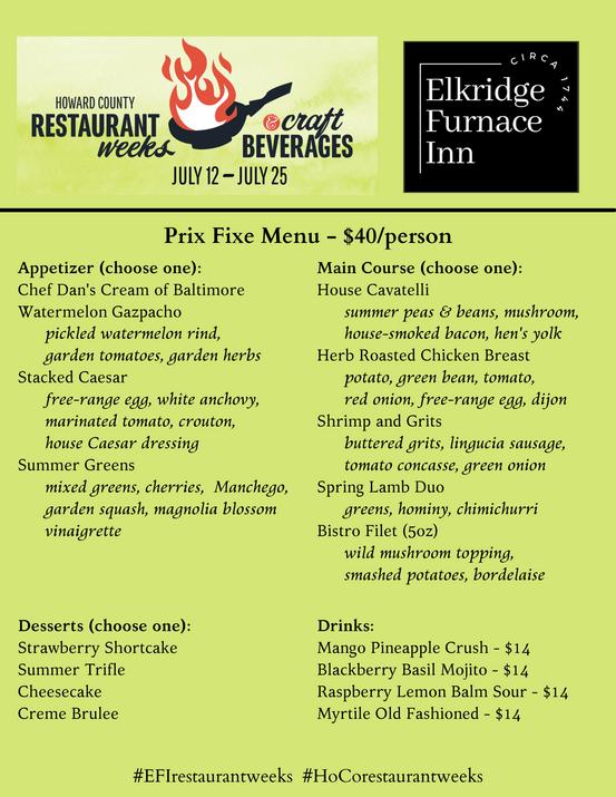 Restaurant Week - Prix Fixe Menu