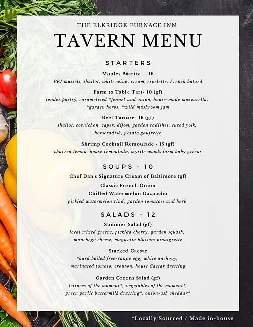Tavern Menu 7.28