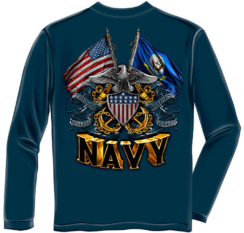 DOUBLE FLAG EAGLE NAVY LONG SLEEVE