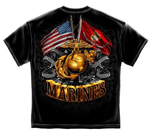 USMC GOLD GLOBE DOUBLE FLAG ELAGLE