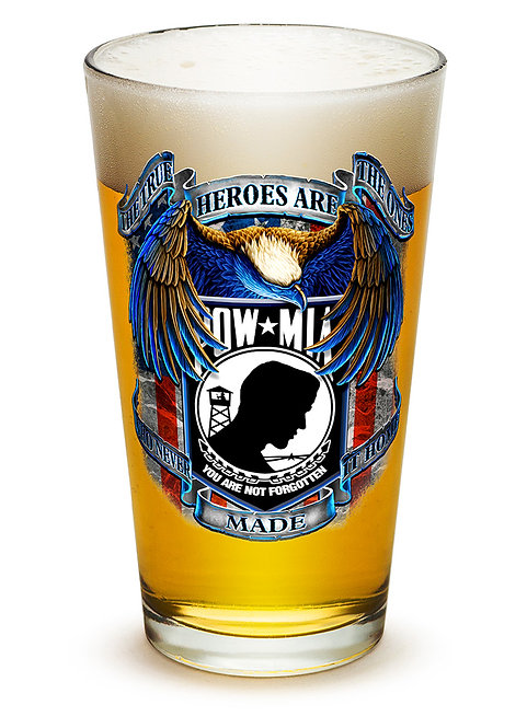 POW Never Forget 16oz large pint glass