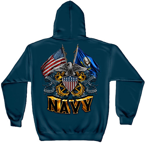 DOUBLE FLAG EAGLE NAVY HOODIE
