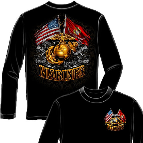 MARINES DOUBLE FLAG LONG SLEEVE SHIRT