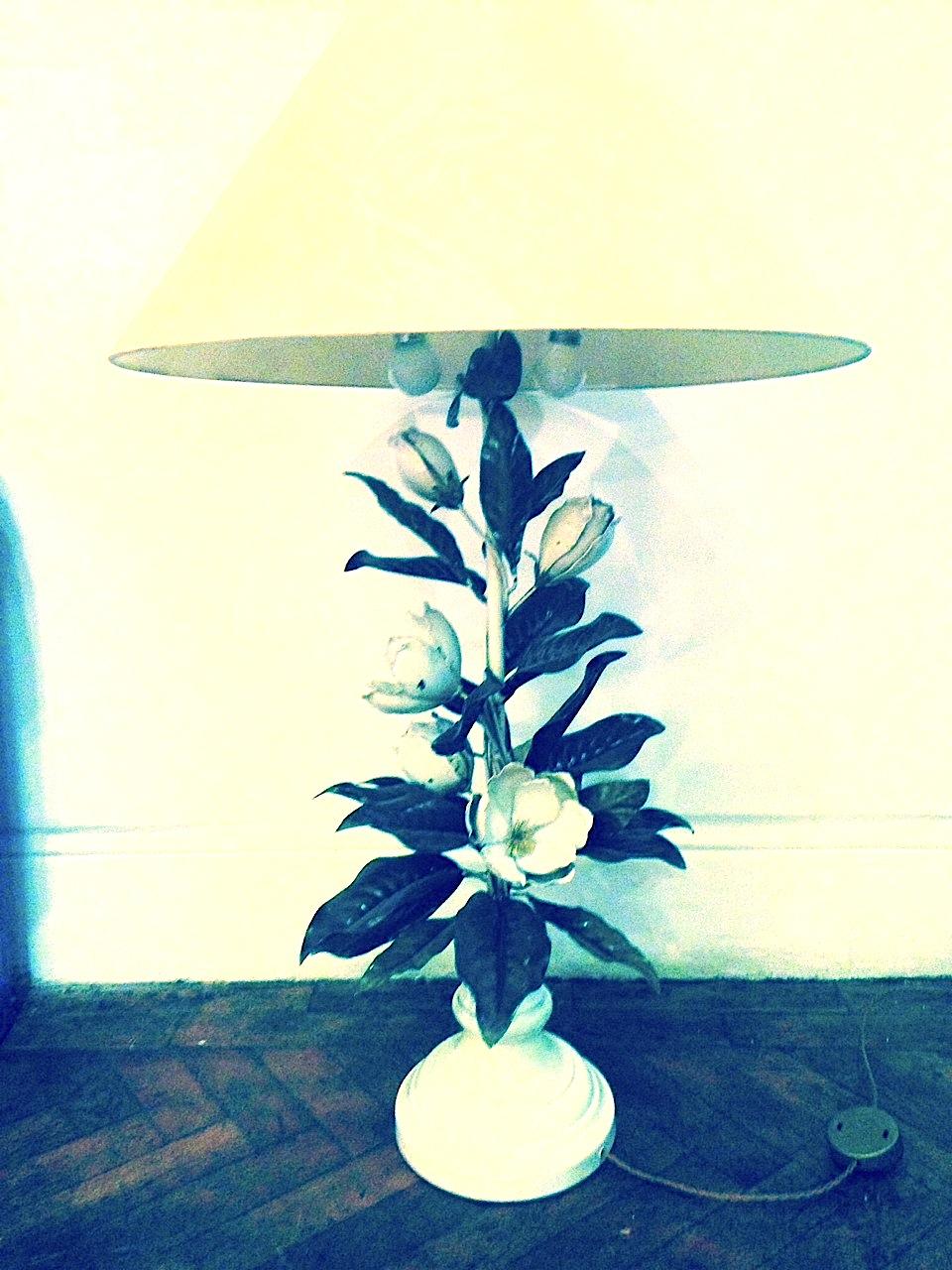 Painted Tole Magnolia Lamp