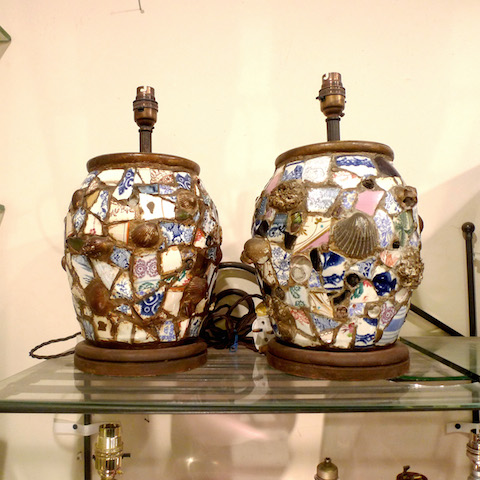 Pair of Ceramic and Shell Lamps