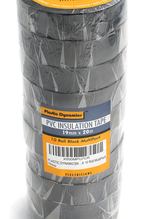 x10 Rolls BLACK PVC Electricians Insulation tape 19mm x 20m