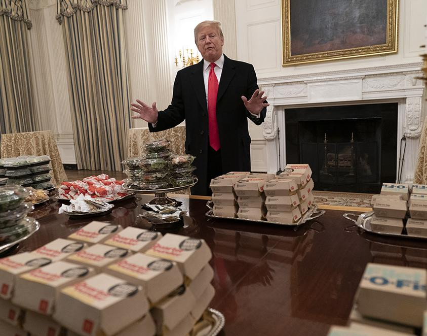 trump fast food dinner in the White House