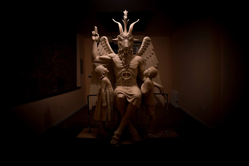 satanic temple statue of baphomet lucifer