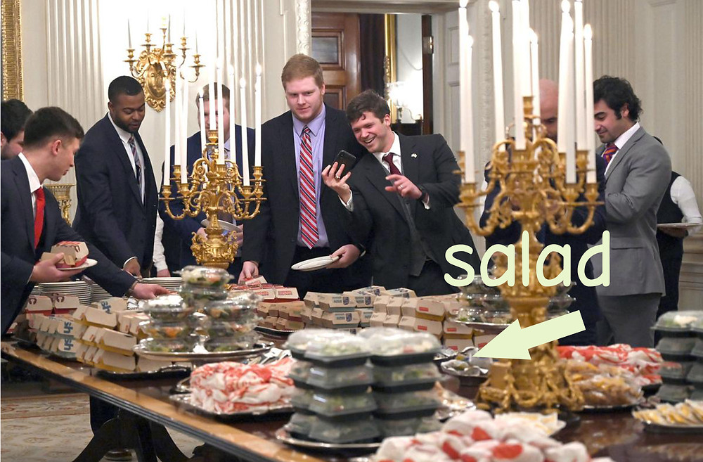 trump fast food dinner in the White House salad