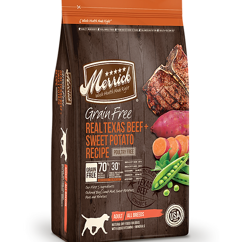 Merrick Grain Free Real Texas Beef + Sweet Potato Recipe