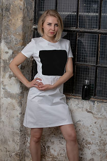 Personalised dress white and black