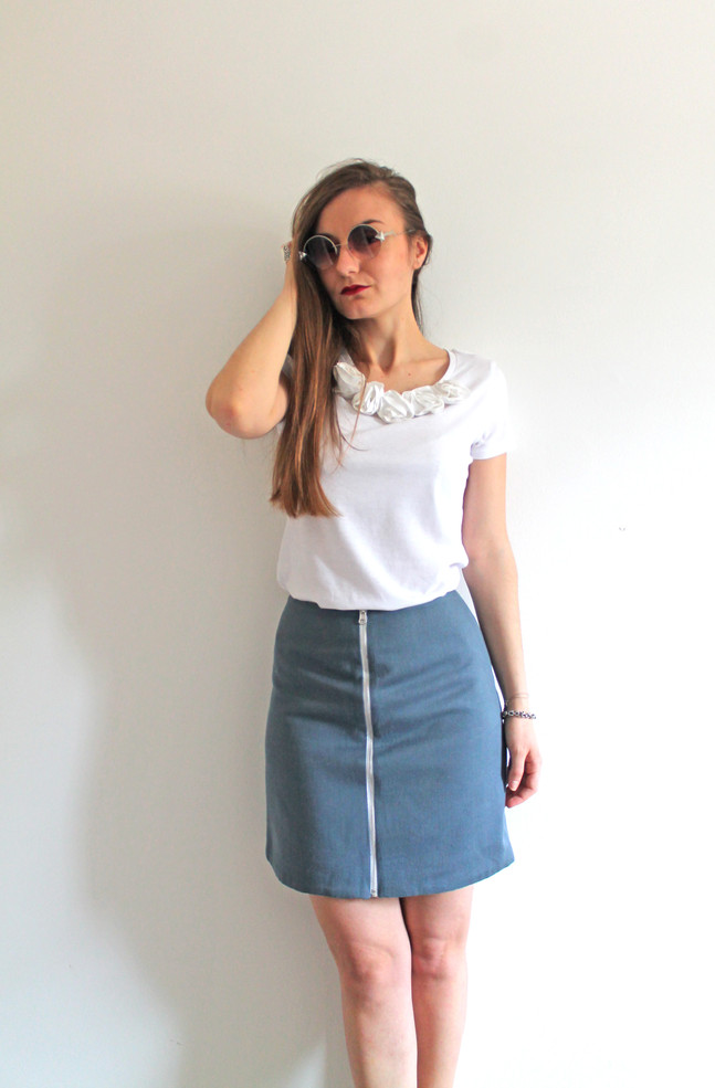 Reversible skirt - blue and white