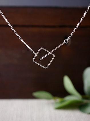 Minimalist Square Bar Silver Pendant
