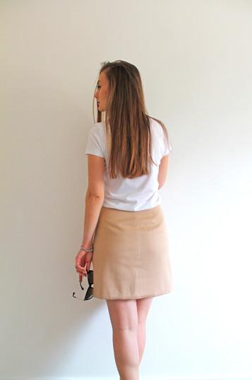 Reversible skirt - beige and white