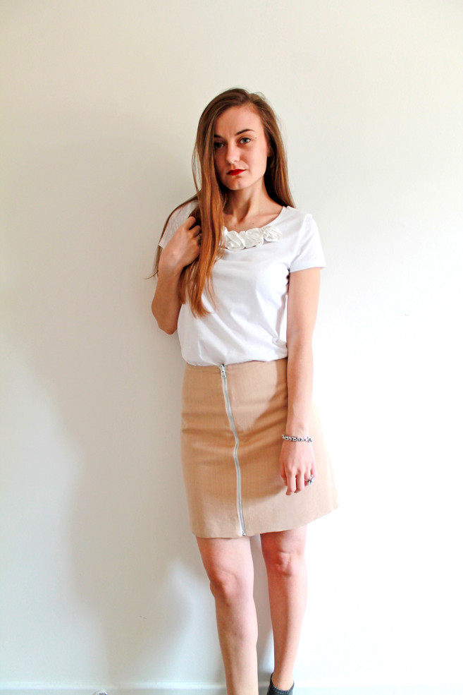 Reversible skirt - beige and white