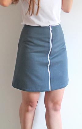 Organic reversible skirt - Blue and White